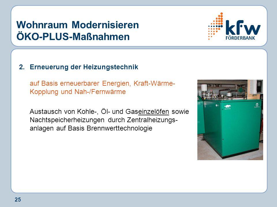 25 Wohnraum Modernisieren ÖKO-PLUS-Maßnahmen 2.Erneuerung der Heizungstechnik auf Basis erneuerbarer Energien, Kraft-Wärme- Kopplung und Nah-/Fernwärm