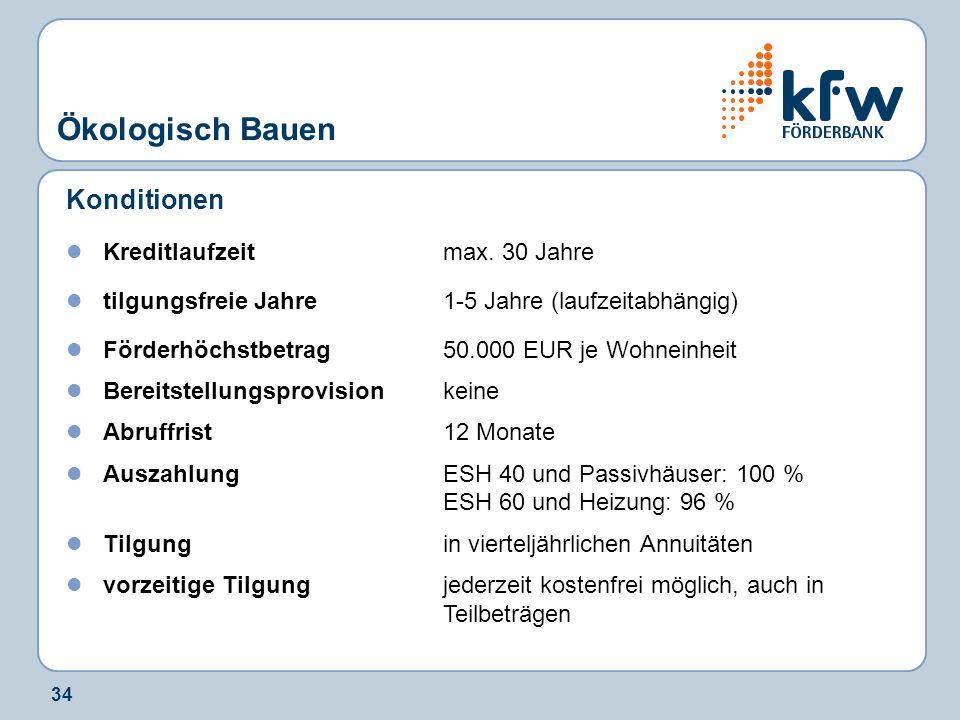 34 Ökologisch Bauen Konditionen Kreditlaufzeit max. 30 Jahre tilgungsfreie Jahre1-5 Jahre (laufzeitabhängig) Förderhöchstbetrag50.000 EUR je Wohneinhe