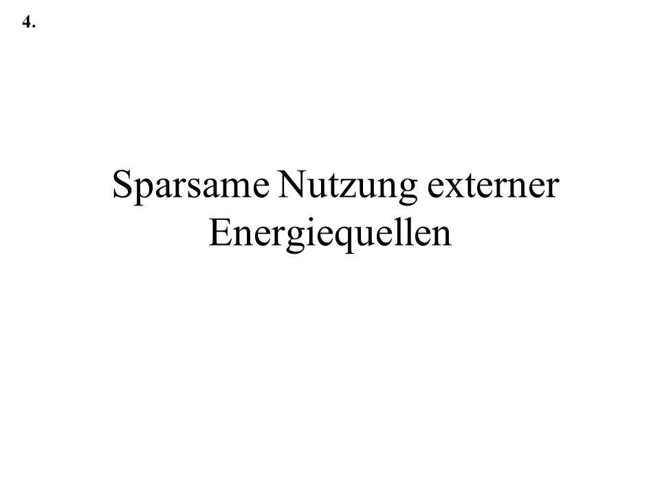 Sparsame Nutzung externer Energiequellen 4.