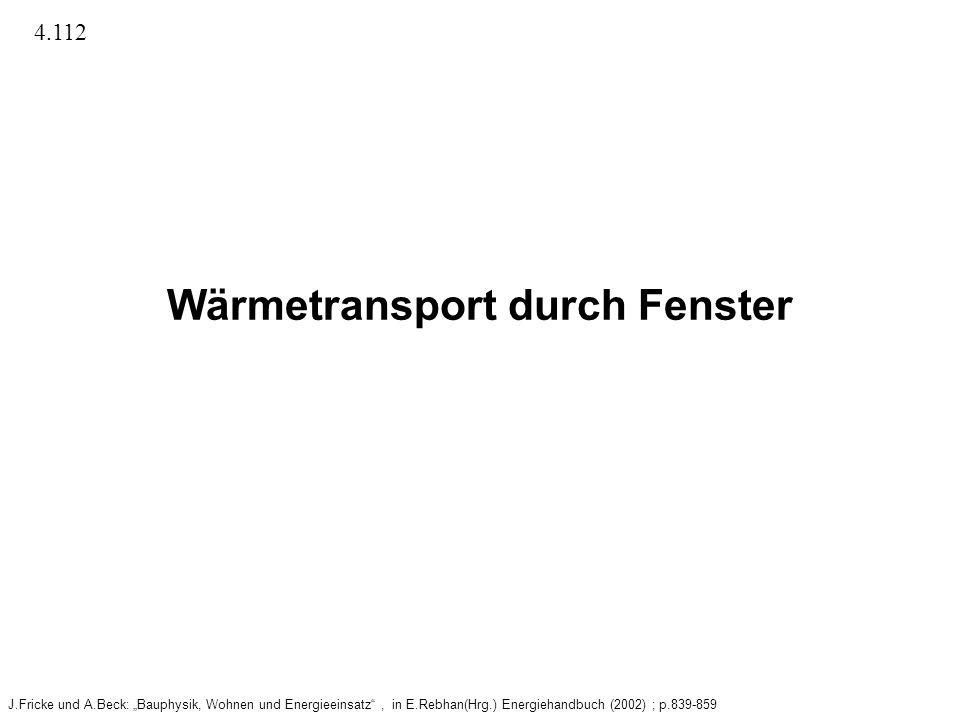 Wärmetransport durch Fenster J.Fricke und A.Beck: Bauphysik, Wohnen und Energieeinsatz, in E.Rebhan(Hrg.) Energiehandbuch (2002) ; p.839-859 4.112