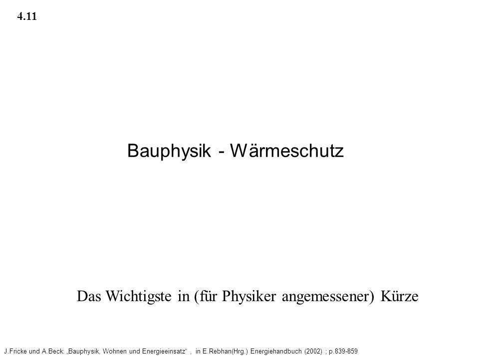 Bauphysik - Wärmeschutz J.Fricke und A.Beck: Bauphysik, Wohnen und Energieeinsatz, in E.Rebhan(Hrg.) Energiehandbuch (2002) ; p.839-859 4.11 Das Wichtigste in (für Physiker angemessener) Kürze