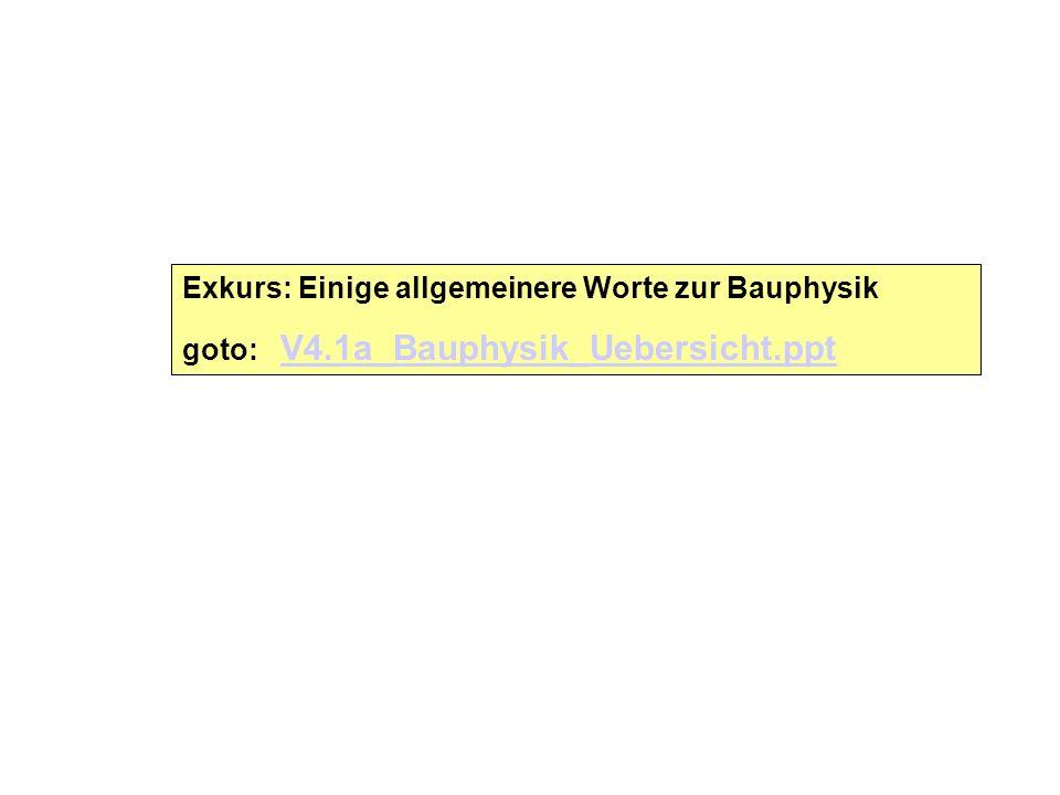 Exkurs: Einige allgemeinere Worte zur Bauphysik goto: V4.1a_Bauphysik_Uebersicht.ppt V4.1a_Bauphysik_Uebersicht.ppt