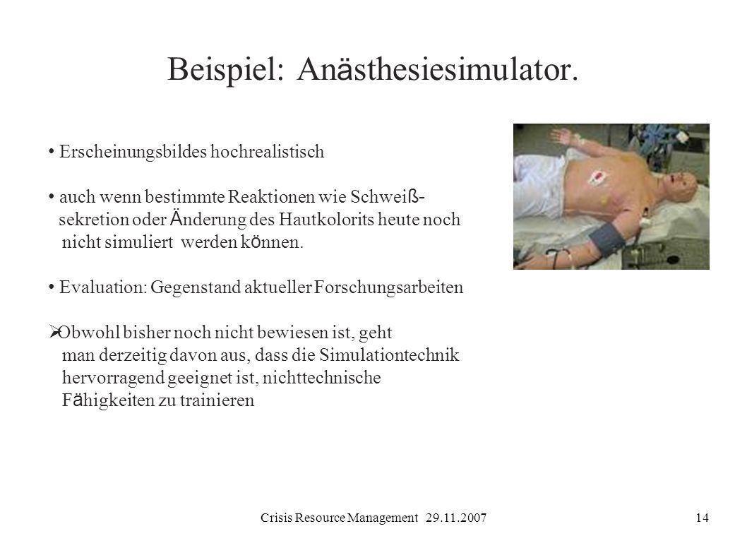 Crisis Resource Management 29.11.200714 Beispiel: An ä sthesiesimulator. Erscheinungsbildes hochrealistisch auch wenn bestimmte Reaktionen wie Schwei