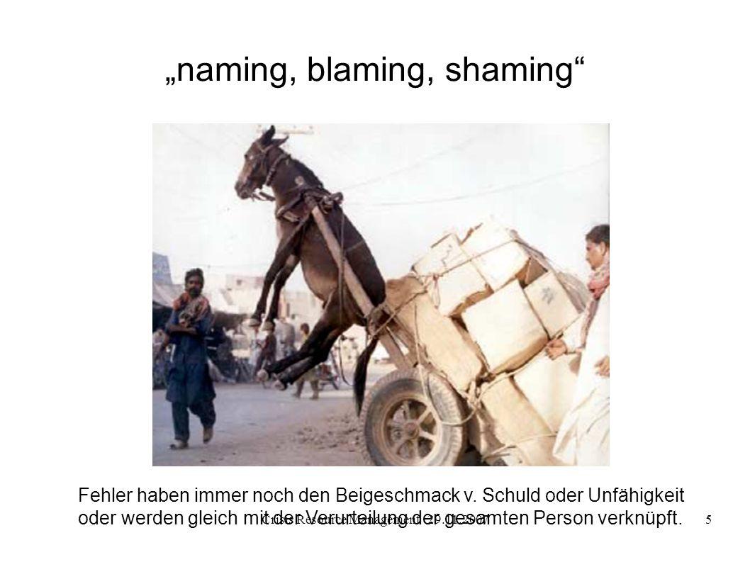 Crisis Resource Management 29.11.20075 naming, blaming, shaming Fehler haben immer noch den Beigeschmack v. Schuld oder Unfähigkeit oder werden gleich