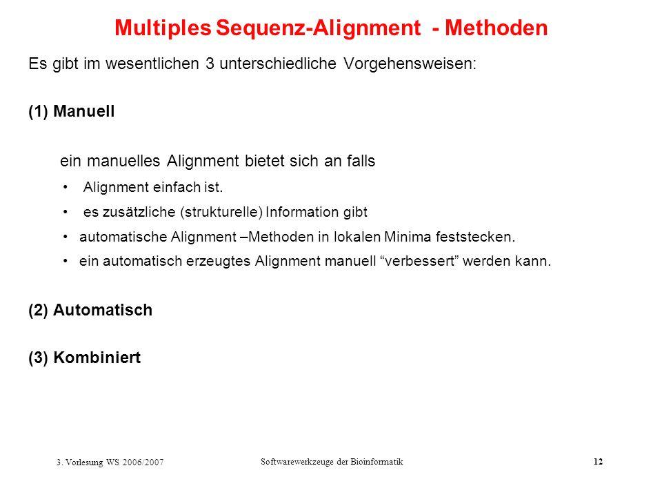 3. Vorlesung WS 2006/2007 Softwarewerkzeuge der Bioinformatik12 Es gibt im wesentlichen 3 unterschiedliche Vorgehensweisen: (1) Manuell ein manuelles