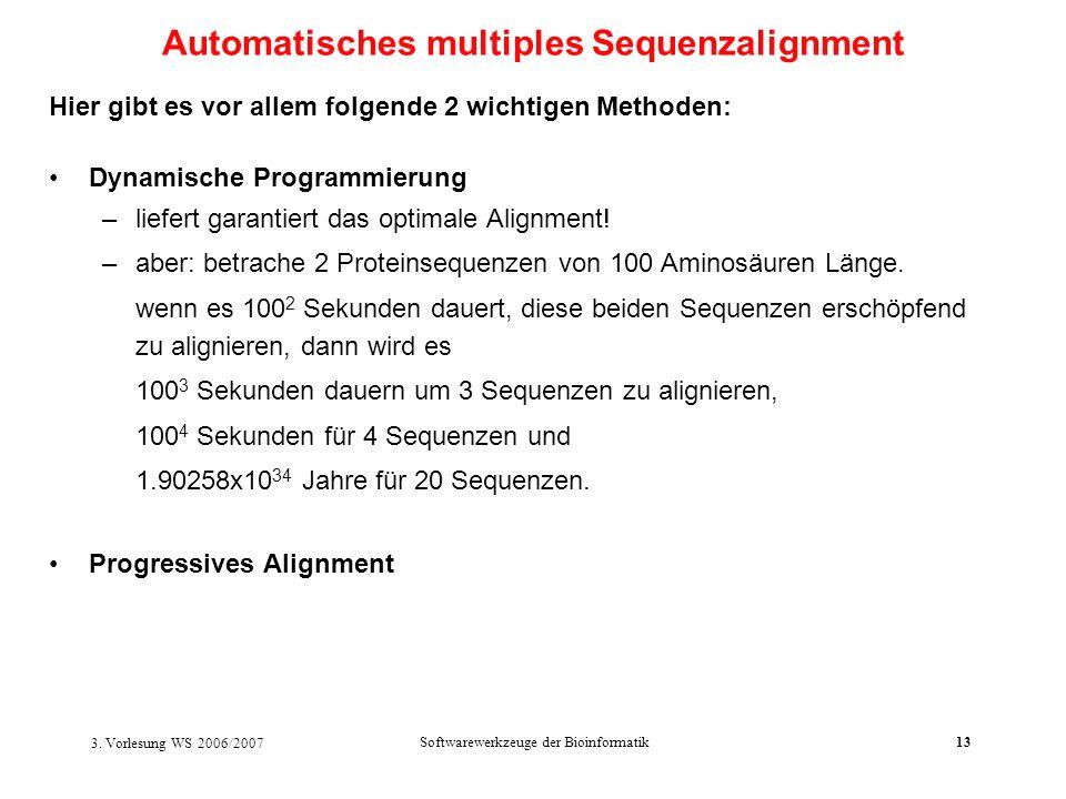 3. Vorlesung WS 2006/2007 Softwarewerkzeuge der Bioinformatik13 Hier gibt es vor allem folgende 2 wichtigen Methoden: Dynamische Programmierung –liefe