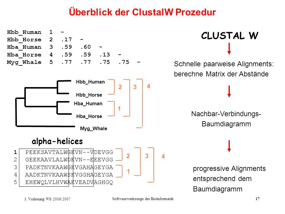 3. Vorlesung WS 2006/2007 Softwarewerkzeuge der Bioinformatik17 Schnelle paarweise Alignments: berechne Matrix der Abstände 1 PEEKSAVTALWGKVN--VDEVGG