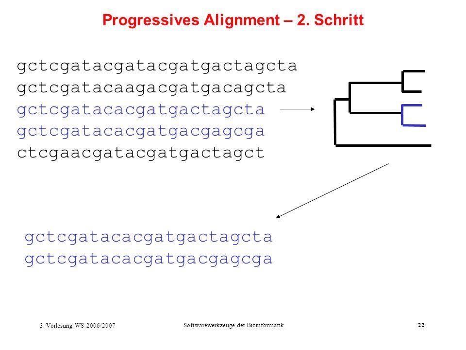 3. Vorlesung WS 2006/2007 Softwarewerkzeuge der Bioinformatik22 gctcgatacgatacgatgactagcta gctcgatacaagacgatgacagcta gctcgatacacgatgactagcta gctcgatac