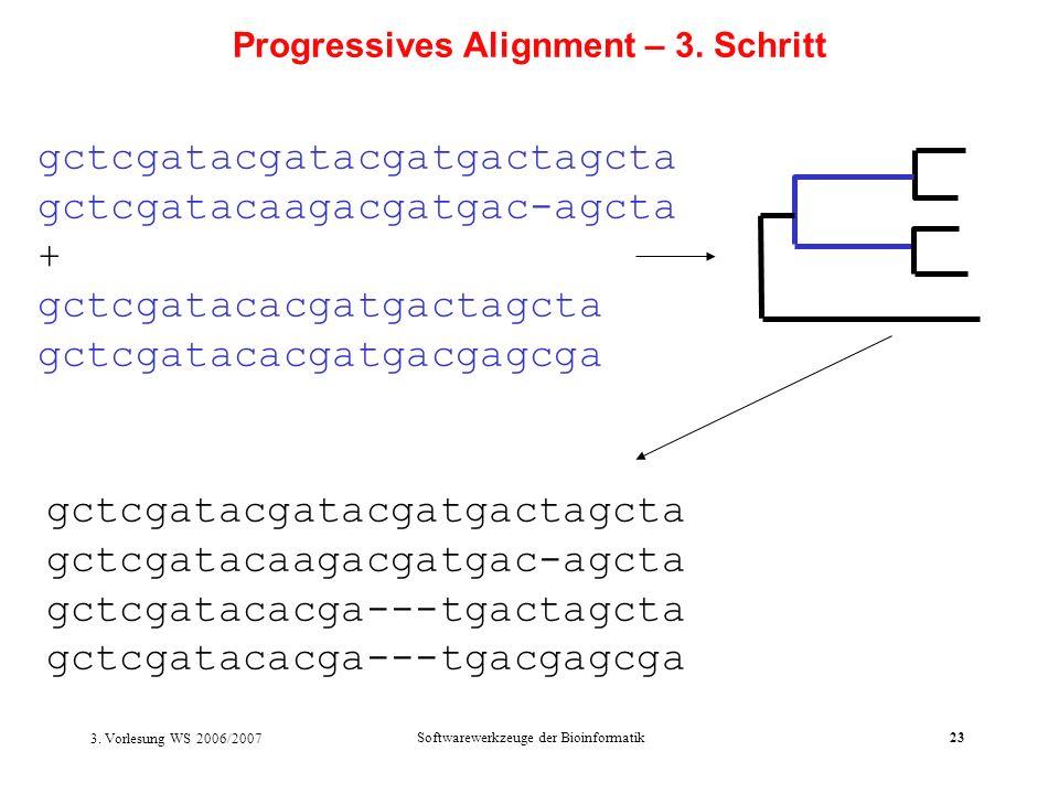 3. Vorlesung WS 2006/2007 Softwarewerkzeuge der Bioinformatik23 gctcgatacgatacgatgactagcta gctcgatacaagacgatgac-agcta + gctcgatacacgatgactagcta gctcga
