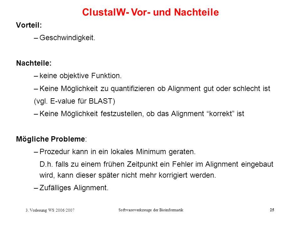 3. Vorlesung WS 2006/2007 Softwarewerkzeuge der Bioinformatik25 Vorteil: –Geschwindigkeit. Nachteile: –keine objektive Funktion. –Keine Möglichkeit zu
