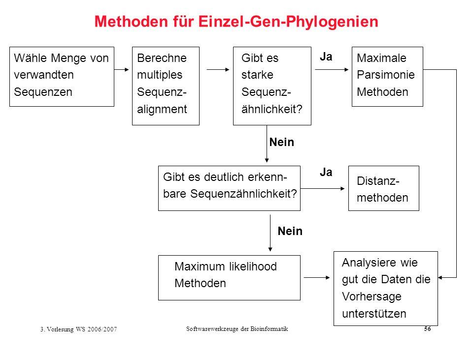 3. Vorlesung WS 2006/2007 Softwarewerkzeuge der Bioinformatik56 Methoden für Einzel-Gen-Phylogenien Wähle Menge von verwandten Sequenzen Berechne mult