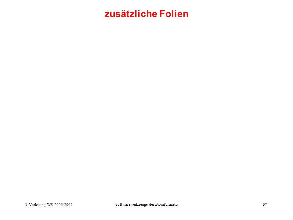 3. Vorlesung WS 2006/2007 Softwarewerkzeuge der Bioinformatik57 zusätzliche Folien