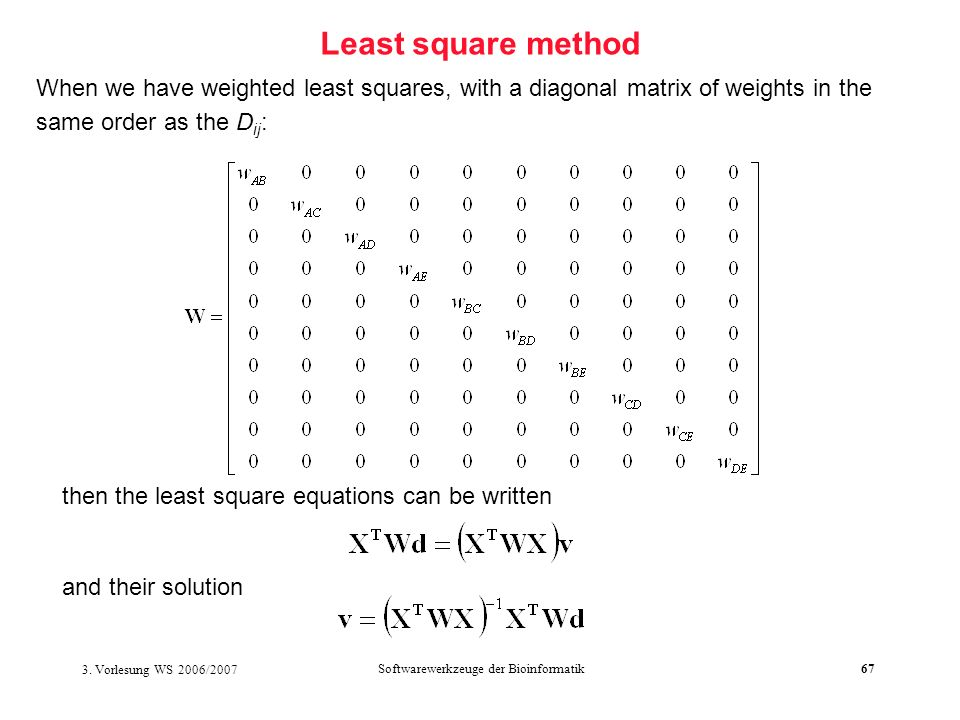 3. Vorlesung WS 2006/2007 Softwarewerkzeuge der Bioinformatik67 Least square method When we have weighted least squares, with a diagonal matrix of wei