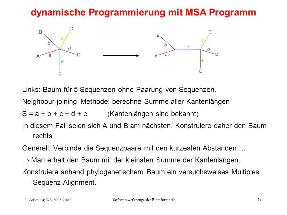 3. Vorlesung WS 2006/2007 Softwarewerkzeuge der Bioinformatik74 dynamische Programmierung mit MSA Programm Links: Baum für 5 Sequenzen ohne Paarung vo
