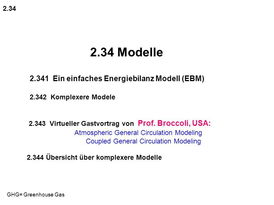 2.34 Modelle 2.341 Ein einfaches Energiebilanz Modell (EBM) 2.342 Komplexere Modele 2.343 Virtueller Gastvortrag von Prof. Broccoli, USA: Atmospheric
