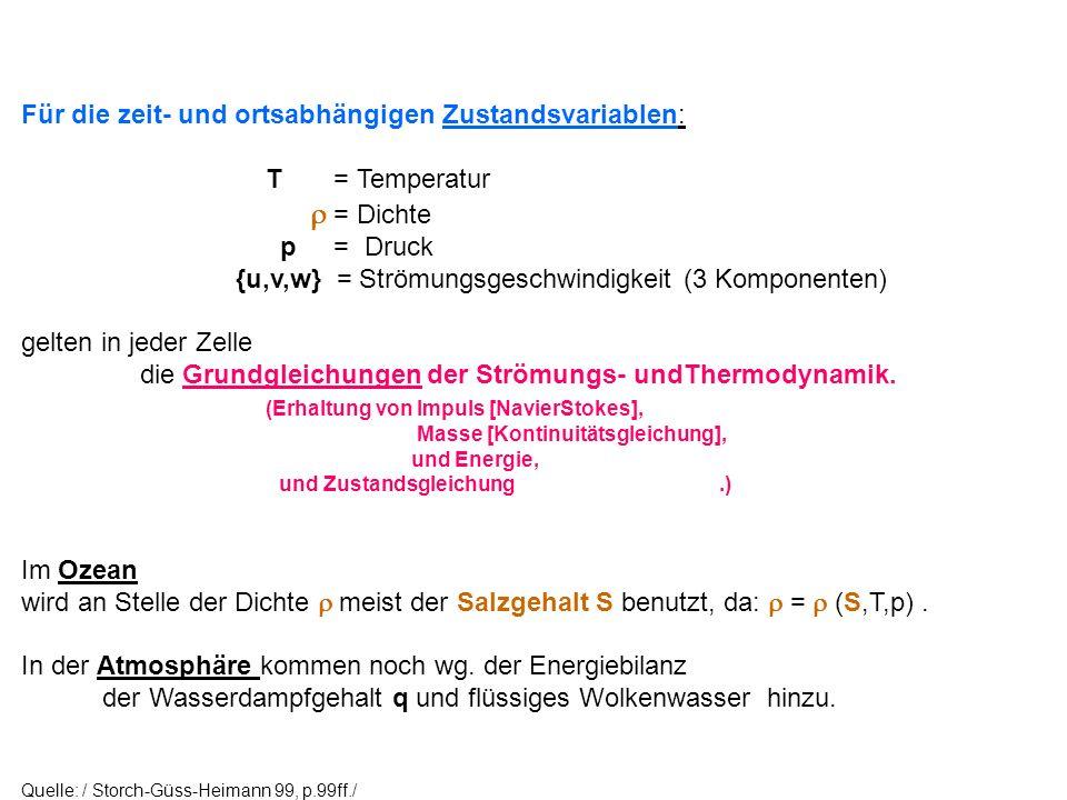 Für die zeit- und ortsabhängigen Zustandsvariablen: T = Temperatur = Dichte p = Druck {u,v,w} = Strömungsgeschwindigkeit (3 Komponenten) gelten in jed