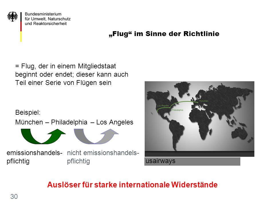 = Flug, der in einem Mitgliedstaat beginnt oder endet; dieser kann auch Teil einer Serie von Flügen sein Beispiel: München – Philadelphia – Los Angele