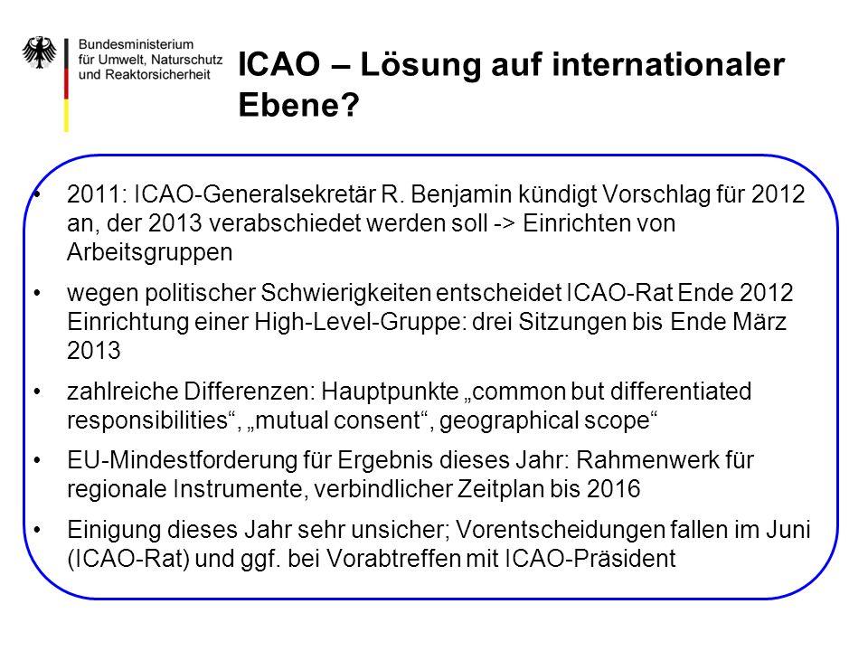 2011: ICAO-Generalsekretär R. Benjamin kündigt Vorschlag für 2012 an, der 2013 verabschiedet werden soll -> Einrichten von Arbeitsgruppen wegen politi