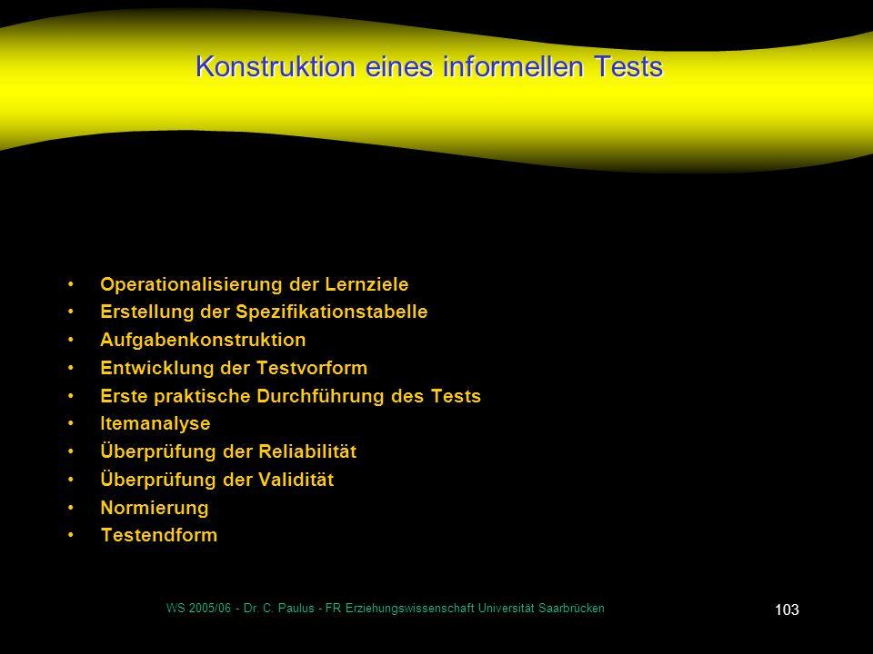 WS 2005/06 - Dr. C. Paulus - FR Erziehungswissenschaft Universität Saarbrücken 103 Konstruktion eines informellen Tests Operationalisierung der Lernzi