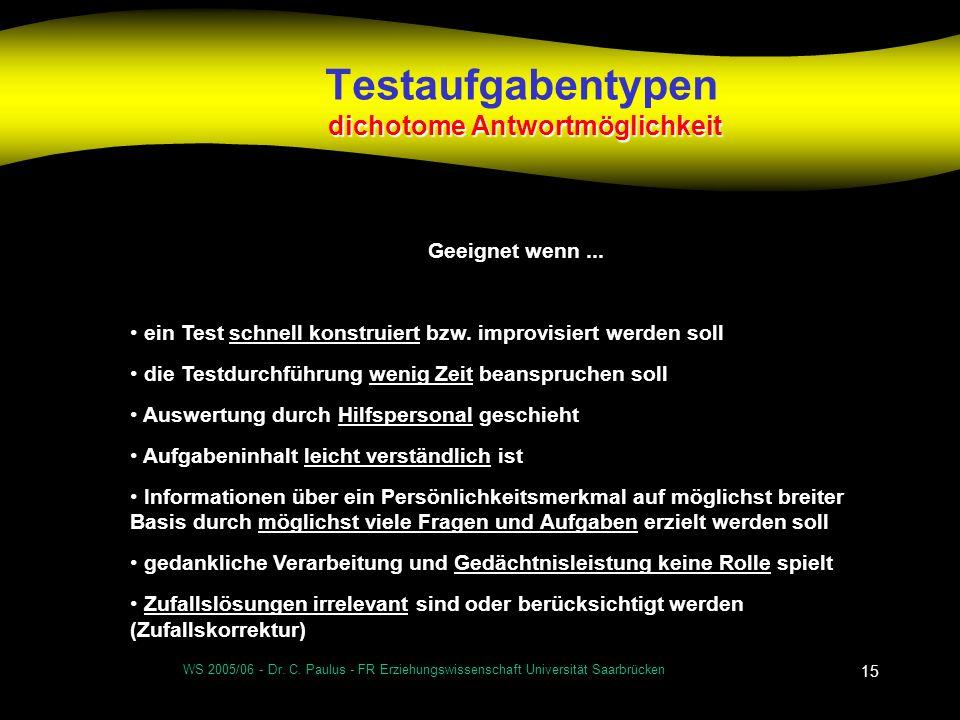 WS 2005/06 - Dr. C. Paulus - FR Erziehungswissenschaft Universität Saarbrücken 15 dichotome Antwortmöglichkeit Testaufgabentypen dichotome Antwortmögl