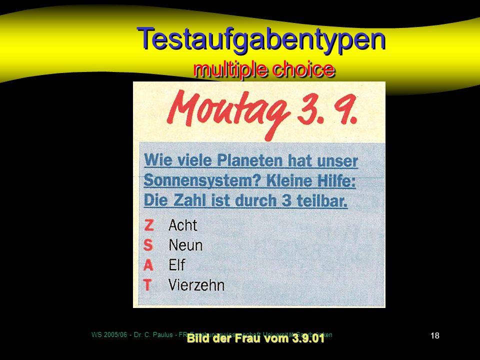 WS 2005/06 - Dr. C. Paulus - FR Erziehungswissenschaft Universität Saarbrücken 18 multiple choice Testaufgabentypen multiple choice Bild der Frau vom