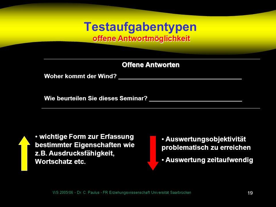 WS 2005/06 - Dr. C. Paulus - FR Erziehungswissenschaft Universität Saarbrücken 19 offene Antwortmöglichkeit Testaufgabentypen offene Antwortmöglichkei