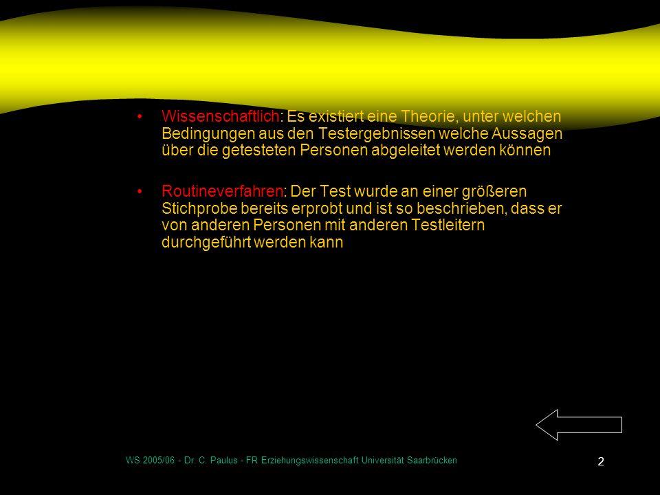 WS 2005/06 - Dr. C. Paulus - FR Erziehungswissenschaft Universität Saarbrücken 2 Wissenschaftlich: Es existiert eine Theorie, unter welchen Bedingunge
