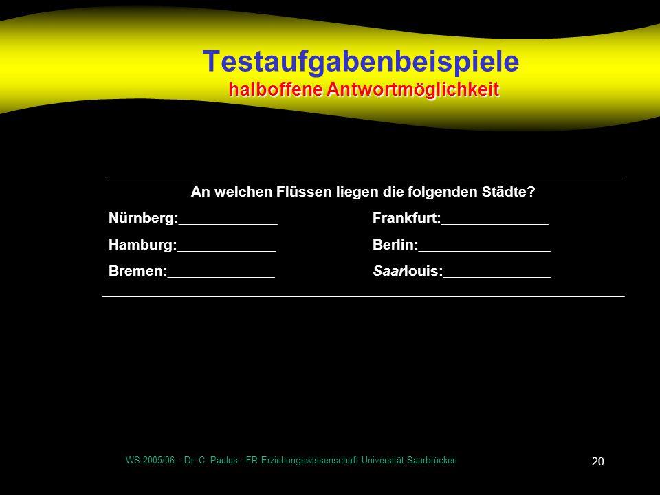 WS 2005/06 - Dr. C. Paulus - FR Erziehungswissenschaft Universität Saarbrücken 20 halboffene Antwortmöglichkeit Testaufgabenbeispiele halboffene Antwo