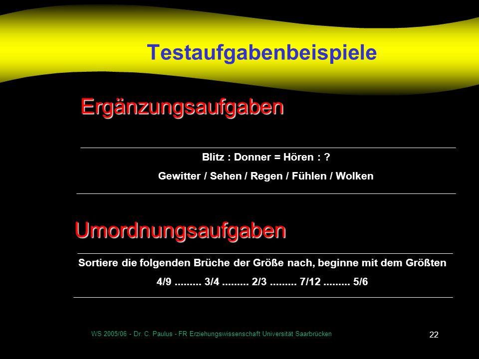 WS 2005/06 - Dr. C. Paulus - FR Erziehungswissenschaft Universität Saarbrücken 22 Testaufgabenbeispiele Blitz : Donner = Hören : ? Gewitter / Sehen /