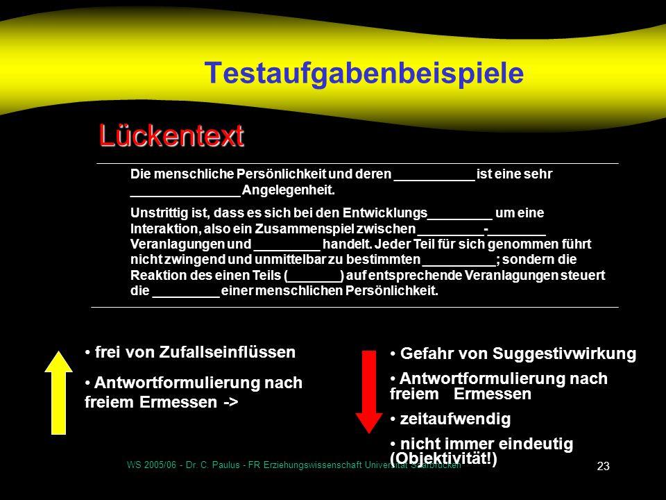 WS 2005/06 - Dr. C. Paulus - FR Erziehungswissenschaft Universität Saarbrücken 23 Testaufgabenbeispiele Lückentext Die menschliche Persönlichkeit und