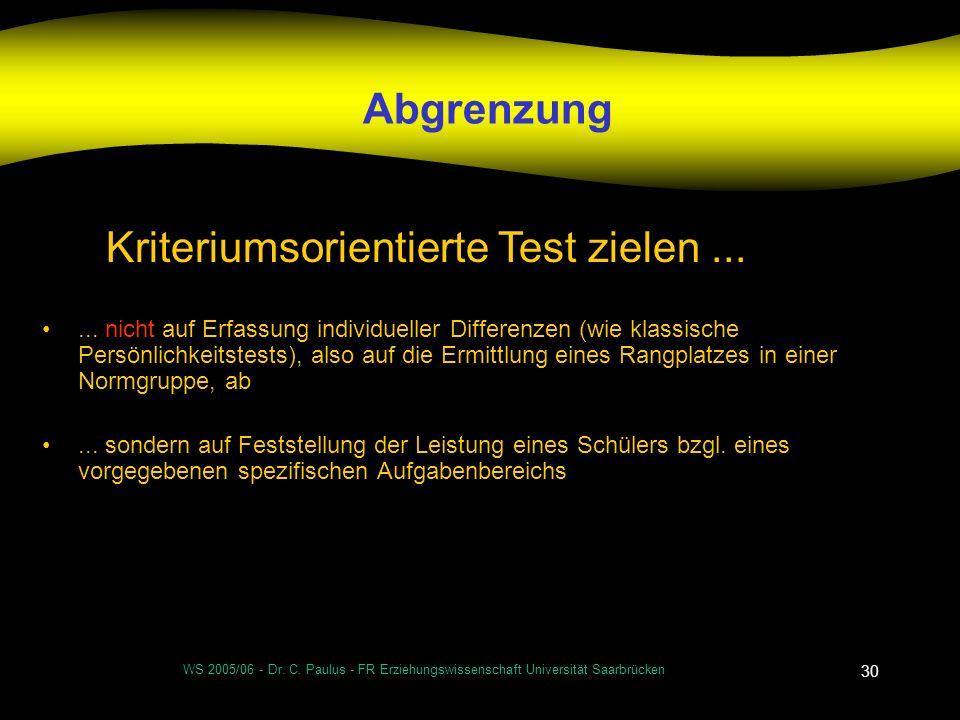 WS 2005/06 - Dr. C. Paulus - FR Erziehungswissenschaft Universität Saarbrücken 30 Abgrenzung... nicht auf Erfassung individueller Differenzen (wie kla