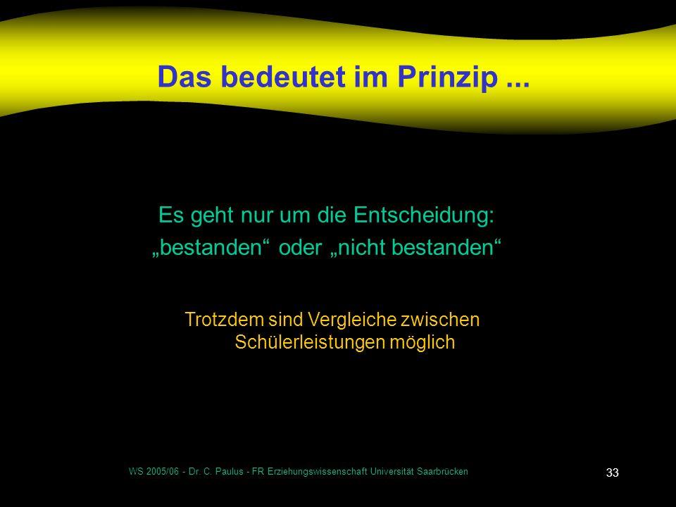 WS 2005/06 - Dr. C. Paulus - FR Erziehungswissenschaft Universität Saarbrücken 33 Das bedeutet im Prinzip... Es geht nur um die Entscheidung: bestande