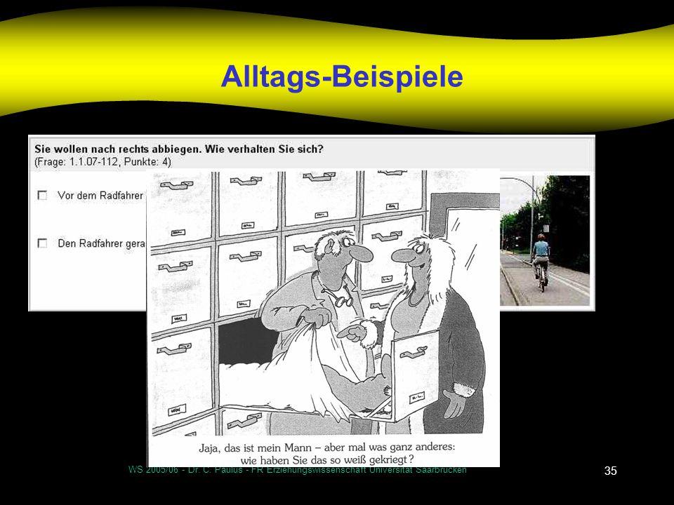 WS 2005/06 - Dr. C. Paulus - FR Erziehungswissenschaft Universität Saarbrücken 35 Alltags-Beispiele