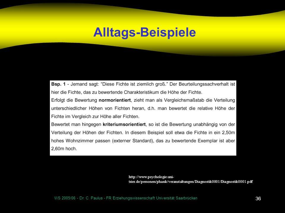 WS 2005/06 - Dr. C. Paulus - FR Erziehungswissenschaft Universität Saarbrücken 36 Alltags-Beispiele http://www.psychologie.uni- trier.de/personen/phan