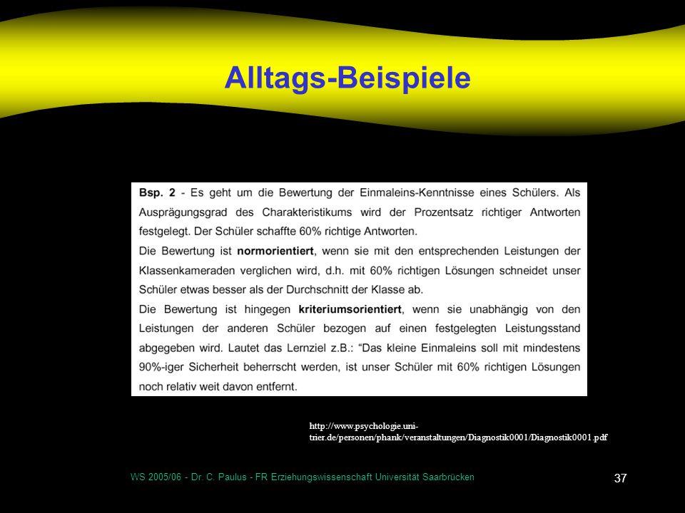WS 2005/06 - Dr. C. Paulus - FR Erziehungswissenschaft Universität Saarbrücken 37 Alltags-Beispiele http://www.psychologie.uni- trier.de/personen/phan