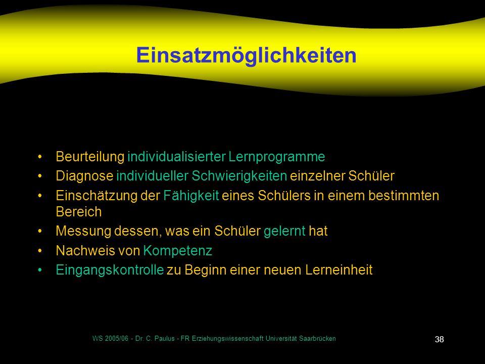 WS 2005/06 - Dr. C. Paulus - FR Erziehungswissenschaft Universität Saarbrücken 38 Einsatzmöglichkeiten Beurteilung individualisierter Lernprogramme Di