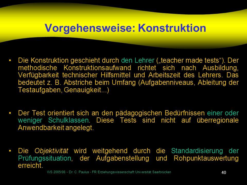 WS 2005/06 - Dr. C. Paulus - FR Erziehungswissenschaft Universität Saarbrücken 40 Vorgehensweise: Konstruktion Die Konstruktion geschieht durch den Le