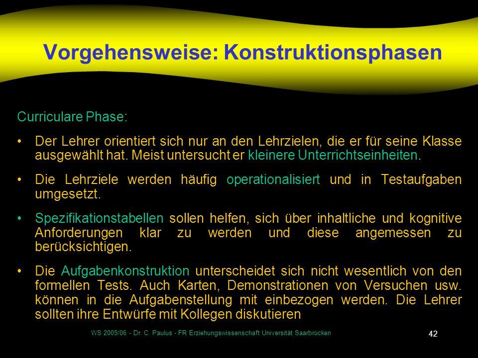 WS 2005/06 - Dr. C. Paulus - FR Erziehungswissenschaft Universität Saarbrücken 42 Vorgehensweise: Konstruktionsphasen Curriculare Phase: Der Lehrer or