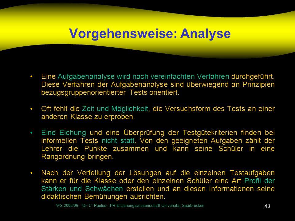WS 2005/06 - Dr. C. Paulus - FR Erziehungswissenschaft Universität Saarbrücken 43 Vorgehensweise: Analyse Eine Aufgabenanalyse wird nach vereinfachten