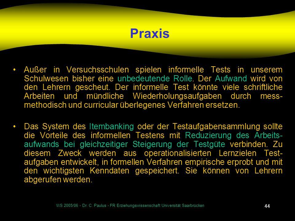 WS 2005/06 - Dr. C. Paulus - FR Erziehungswissenschaft Universität Saarbrücken 44 Praxis Außer in Versuchsschulen spielen informelle Tests in unserem