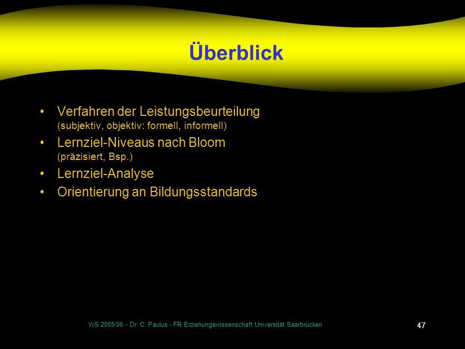 WS 2005/06 - Dr. C. Paulus - FR Erziehungswissenschaft Universität Saarbrücken 47 Überblick Verfahren der Leistungsbeurteilung (subjektiv, objektiv: f