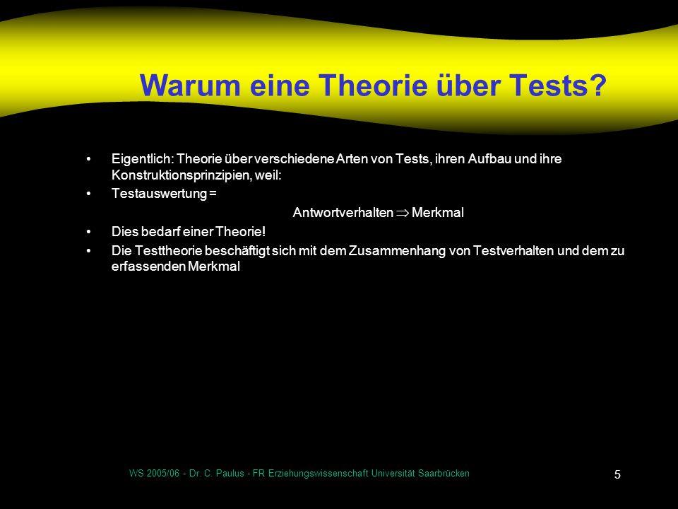 WS 2005/06 - Dr. C. Paulus - FR Erziehungswissenschaft Universität Saarbrücken 5 Warum eine Theorie über Tests? Eigentlich: Theorie über verschiedene
