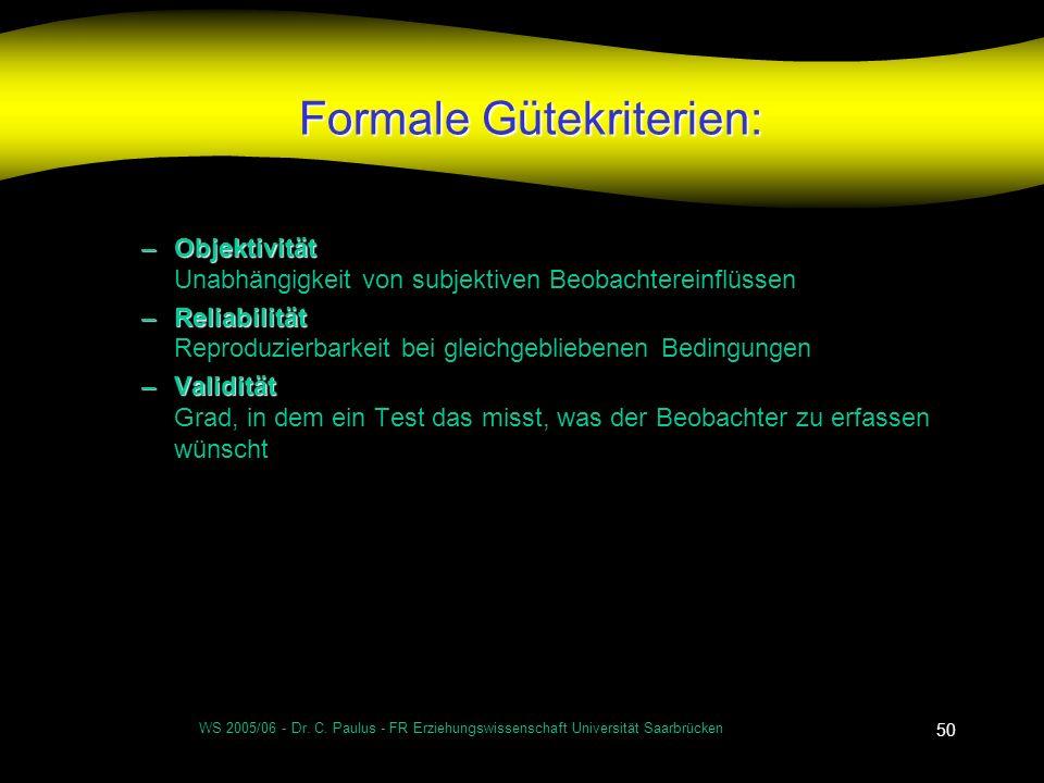 WS 2005/06 - Dr. C. Paulus - FR Erziehungswissenschaft Universität Saarbrücken 50 Formale Gütekriterien: –Objektivität –Objektivität Unabhängigkeit vo