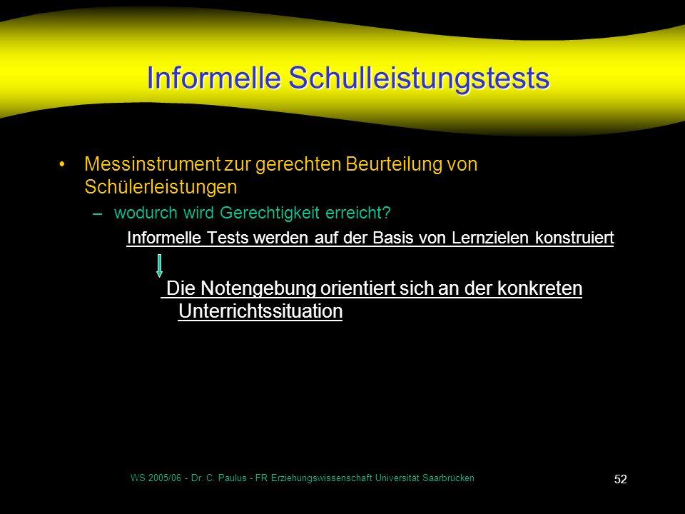 WS 2005/06 - Dr. C. Paulus - FR Erziehungswissenschaft Universität Saarbrücken 52 Informelle Schulleistungstests Messinstrument zur gerechten Beurteil