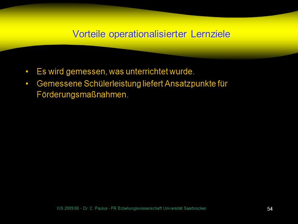 WS 2005/06 - Dr. C. Paulus - FR Erziehungswissenschaft Universität Saarbrücken 54 Vorteile operationalisierter Lernziele Es wird gemessen, was unterri