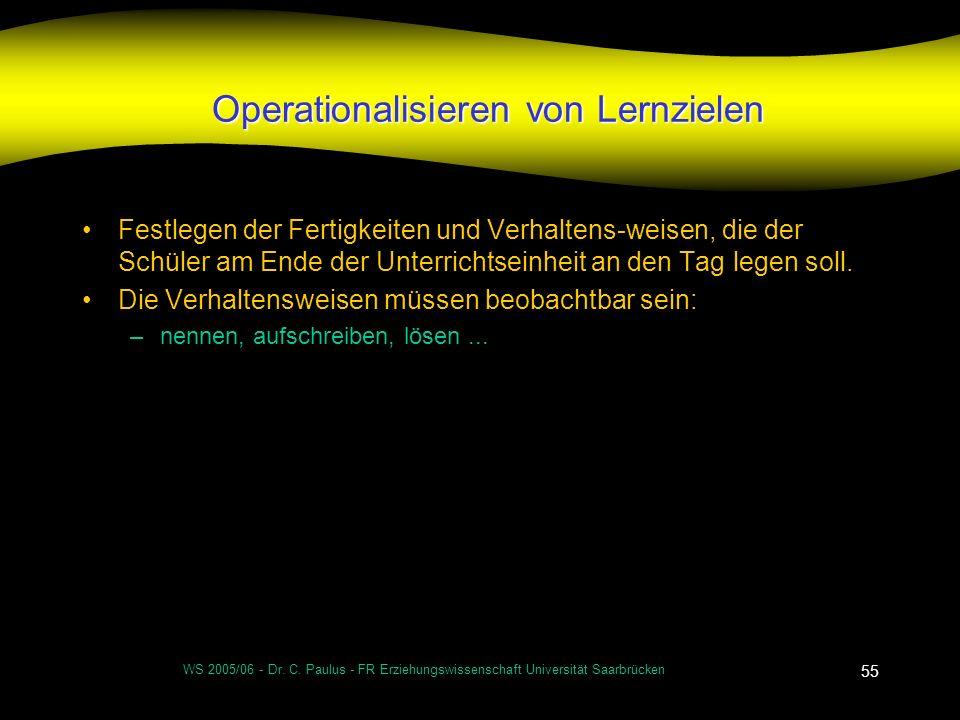 WS 2005/06 - Dr. C. Paulus - FR Erziehungswissenschaft Universität Saarbrücken 55 Operationalisieren von Lernzielen Festlegen der Fertigkeiten und Ver