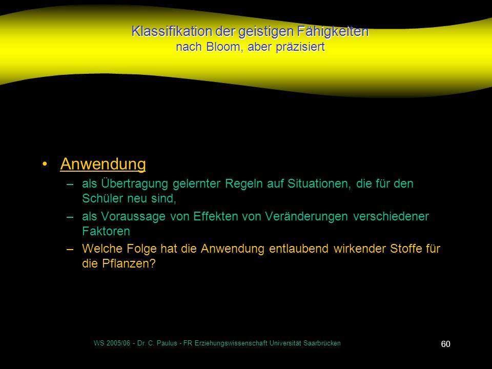 WS 2005/06 - Dr. C. Paulus - FR Erziehungswissenschaft Universität Saarbrücken 60 Klassifikation der geistigen Fähigkeiten nach Bloom, aber präzisiert