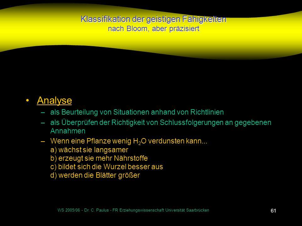 WS 2005/06 - Dr. C. Paulus - FR Erziehungswissenschaft Universität Saarbrücken 61 Klassifikation der geistigen Fähigkeiten nach Bloom, aber präzisiert