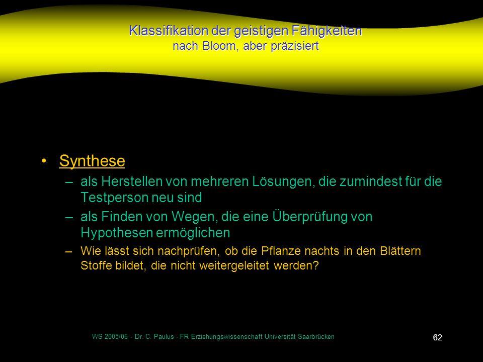 WS 2005/06 - Dr. C. Paulus - FR Erziehungswissenschaft Universität Saarbrücken 62 Klassifikation der geistigen Fähigkeiten nach Bloom, aber präzisiert