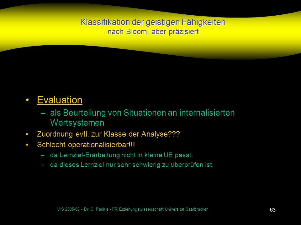 WS 2005/06 - Dr. C. Paulus - FR Erziehungswissenschaft Universität Saarbrücken 63 Klassifikation der geistigen Fähigkeiten nach Bloom, aber präzisiert